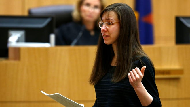 Jodi Arias addresses the jury on Tuesday  during the penalty phase of her murder trial at Maricopa County Superior Court in Phoenix.