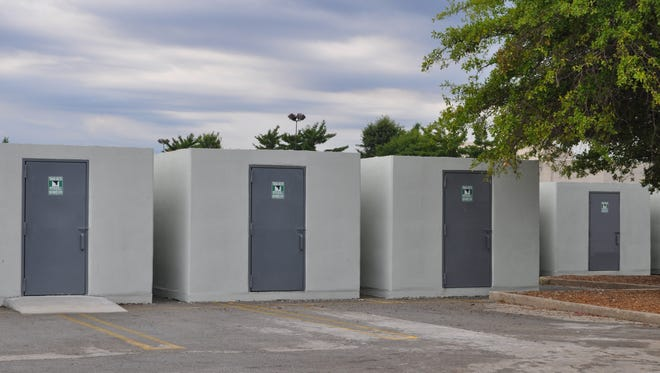 These safe rooms are located at the temporary Joplin High School.
