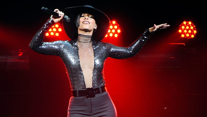 BELFAST, UNITED KINGDOM - MAY 21: Alicia Keys performs at Odyssey Arena on May 21, 2013 in Belfast, Northern Ireland. (Photo by Ramsey Cardy/WireImage) ORG XMIT: 169335103 ORIG FILE ID: 169200750