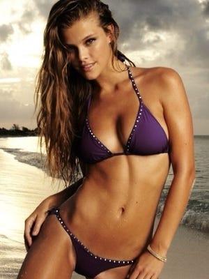 Supermodel Nina Agdal poses in her swimsuit.
