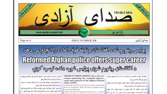 Leaflets such as this one dropped to promote the Afghan police is one part of U.S.-supported information operations campaigns.