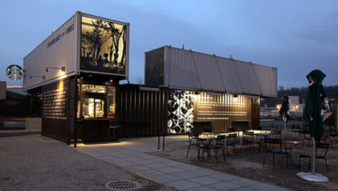 """Shipping Container Starbucks (Tukila, Wash.): There's no arguing that this Tukila, Wash., Starbucks stands out -- and for all the right reasons. Made using four reclaimed shipping containers, the design is as eco-friendly as it is innovative and, quite frankly, just plain cool-looking. Starbucks representative Alan Hilowitz explained, """"Our designers were inspired to create this store both as a result of the shipyard that can be seen out the back windows of our headquarters in South Seattle, as well as a desire to recycle the same kind of shipping containers that transport our coffees and teas around the world."""" There's been additional shipping container stores built now, including one in Northglenn, Colo."""