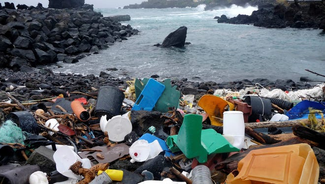 A coastal area of the Azores Islands in Portugal is shown littered with plastic garbage in 2010.