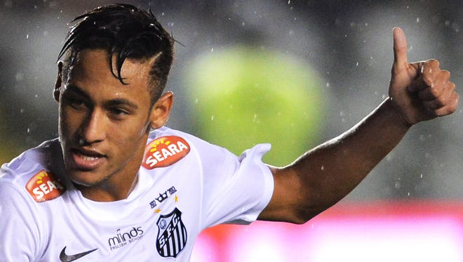 Neymar of Santos FC, reacts after the 2013 Copa do Brasil football match against Joinville held at Vila Belmiro stadium.