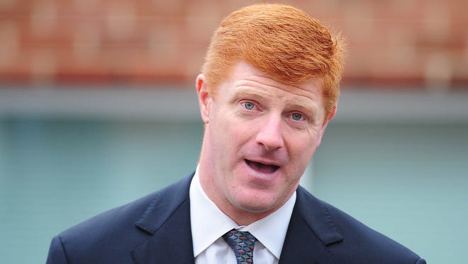 Penn State Nittany Lions former assistant coach Mike McQueary outside of the Pasquerilla Spritual Center.