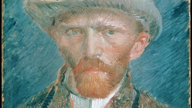 """""""Self-Portrait with a Felt Hat"""" was painted in 1887 by Vincent van Gogh, shown at the Detroit Institute of Arts."""