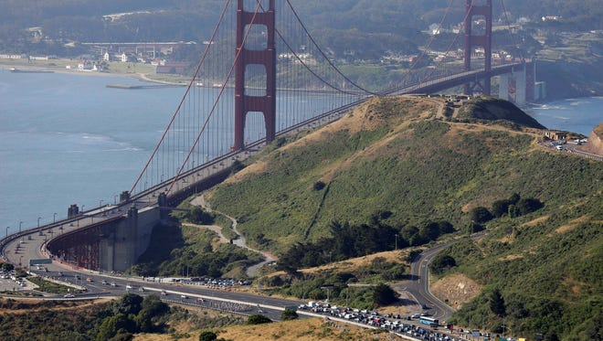 Highway 101, with the Golden Gate Bridge in the background, is seen on May 19 in Sausalito, Calif. The Honda coupe in Sunday's crash appears to have slammed into the center divider of Highway 101.