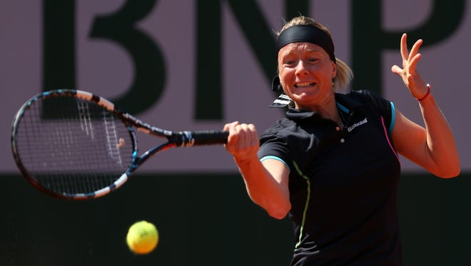 Zuzana Kucova of Slovakia fires a forehand during her upset victory against Julia Goerges of Germany 7-6, 6-0.