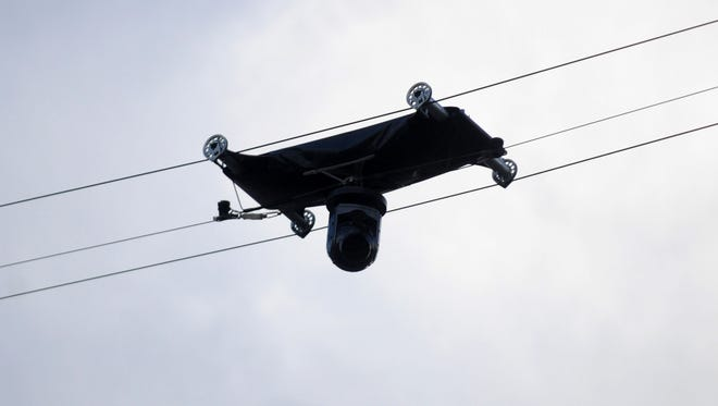 A view of the overhead TV camera Fox was using at the Coca-Cola 600. One of the support ropes broke during the race, injuring fans and damaging cars.