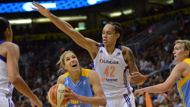 Phoenix Mercury center Brittney Griner (42) tries to block Chicago Sky guard Elena Delle Donne (11) during the third quarter on Monday, May 27, 2013 at US Airways Center.