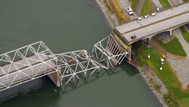 A bridge on Interstate 5 in Washington state collapsed last week after a truck with an oversized load hit a steel girder.