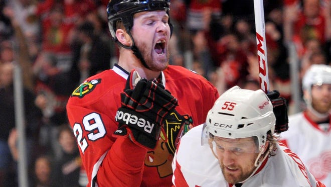 Chicago left wing Bryan Bickell has scored in the past two games as the Blackhawks rallied to tie the series against the Detroit Red Wings.