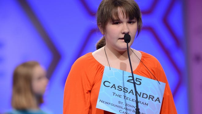 Speller 25, Cassandra Clowe-Coish of Canada, is all in at the 2013 Scripps National Spelling Bee.