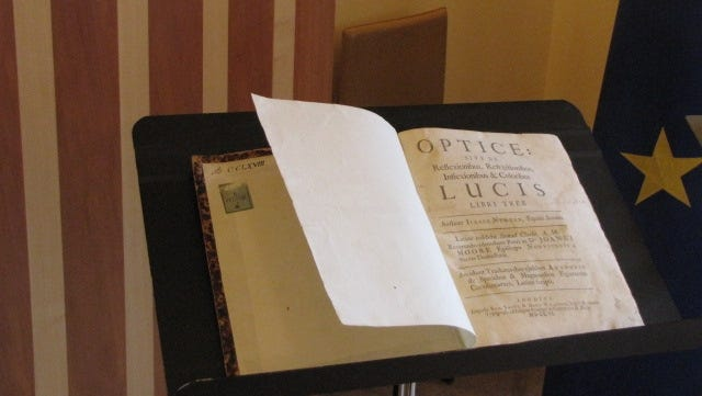 """A Latin translation of """"Opticks"""" by Isaac Newton, a 1704 book that revolutionized the study of light, will be returned to Italy."""
