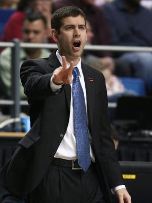 Butler coach Brad Stevens coaches his team against the Marquette Golden Eagles in a game last season.