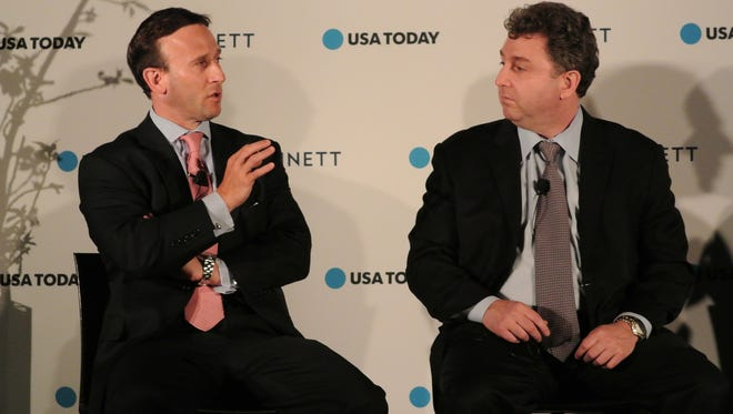 Russ Koesterich, global chief investment strategist with BlackRock, left, and Jonathan Golub, chief U.S. equity strategist for UBS.