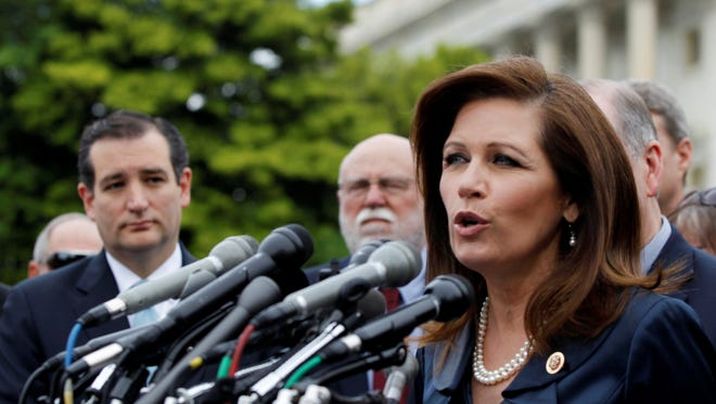 Rep. Michele Bachmann, R-Minn., chair of the Tea Party Caucus, spoke on Capitol Hill on May 16, 2013, during a news conference to discuss the IRS targeting Tea Party groups.