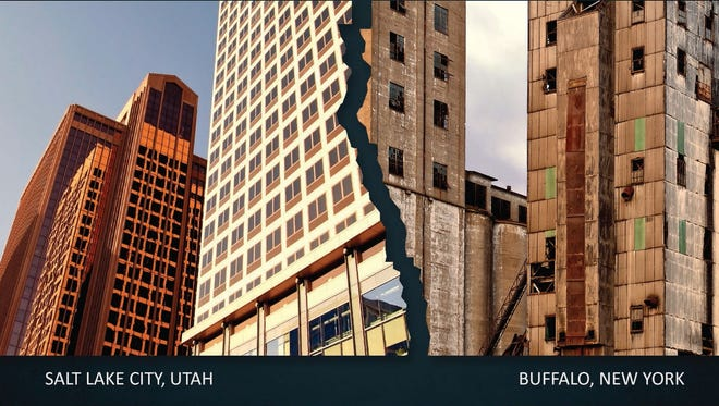 The American Legislative Exchange Council features the skyscrapers of Salt Lake City and crumbling buildings in Buffalo, N.Y., on the cover of its 2013 report.