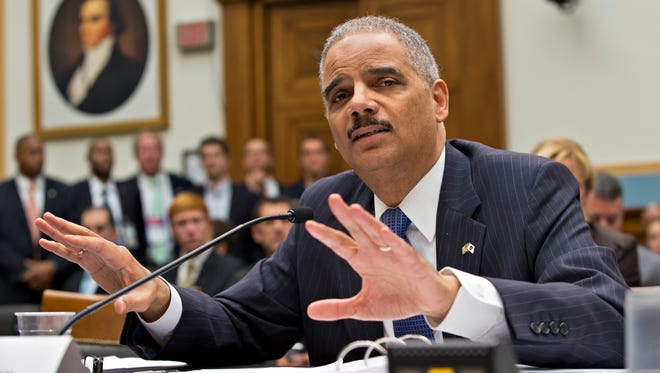 Attorney General Eric Holder testifies on Capitol Hill in Washington on May 15.