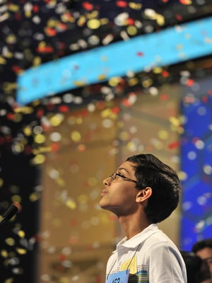 Arvind Mahankali of Bayside Hills, N.Y., correctly spells knaidel to win the Scripps National Spelling Bee.