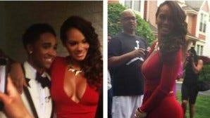 Evelyn Lozada and her date Anthony Nelson pose for prom photos.