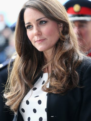 Kate, Duchess of Cambridge, arrives at the Warner Bros. Studios in England.