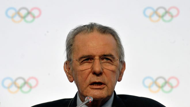 IOC President Jacques Rogge speaks at the IOC executive board meeting at the SportAccord International Convention in St. Petersburg on May 31, 2013.