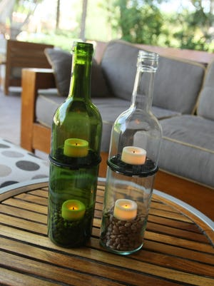 Refresh Glass in Tempe turns used wine bottles into glasses and votives.