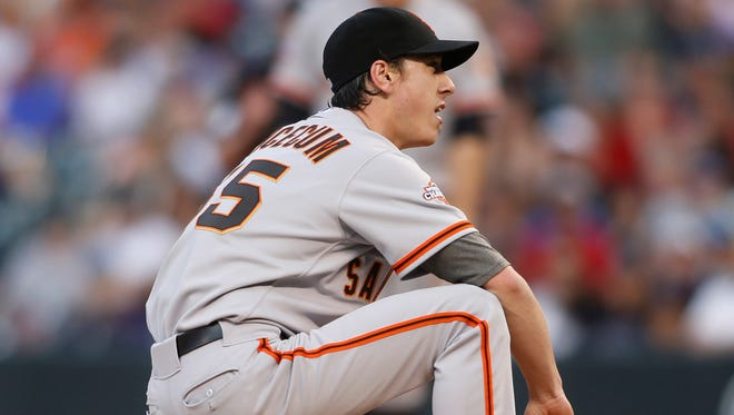Right-hander Tim Lincecum, a two-time Cy Young Award winner, is 3-5 with a 5.12 ERA.