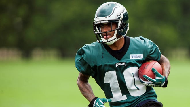 Philadelphia Eagles wide receiver DeSean Jackson (10) carries the ball during organized team activities at the NovaCare Complex.