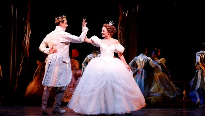 Laura Osnes (Cinderella) and Santino Fontana (Prince Topher) in ROGERS   HAMMERSTEIN'S CINDERELLA at the Broadway Theatre.