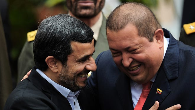 Venezuelan President Hugo Chavez, right, and his Iranian counterpart Mahmoud Ahmadinejad last year in Caracas.