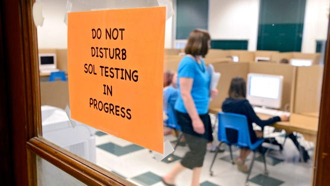 Students taking standardized tests May 23 in Broadway, Va.