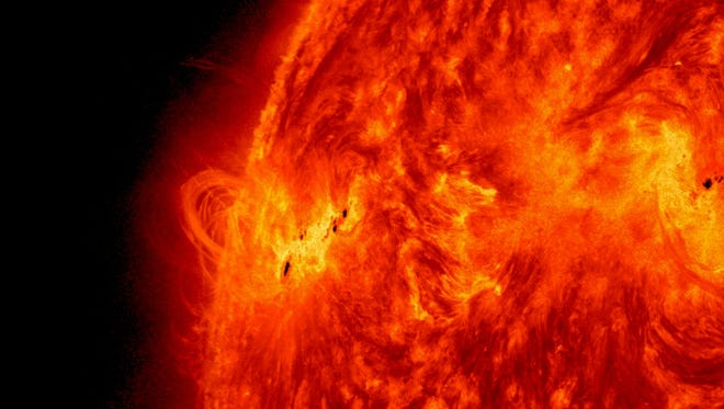 NASA's Solar Dynamics Observatory captured this image of the X1.2 class solar flare on May 14. Solar activity continued as the sun emitted a fourth X-class flare from its upper left limb, peaking at 9:48 p.m. ET. This flare is the 18th X-class flare of the current solar cycle.