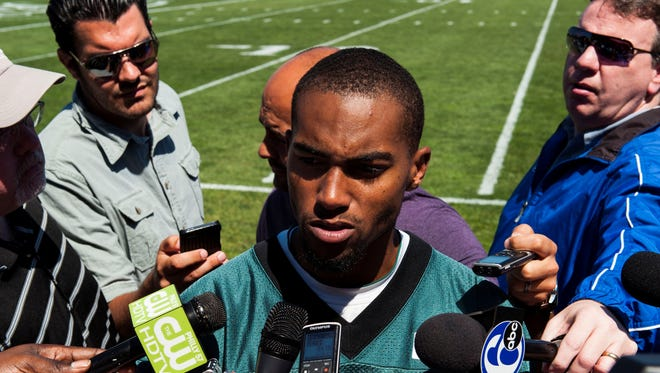 Philadelphia Eagles wide receiver DeSean Jackson addresses the media during minicamp at the NovaCare Complex on Tuesday.