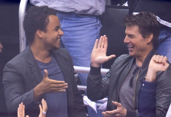 Connor Cruise and his dad, Tom, were happy at Tuesday's NHL playoff game between the Chicago Blackhawks and the Los Angeles Kings at Staples Center.