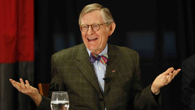 Retiring Ohio State President Gordon Gee discusses his decision to leave in July at a news conference on Wednesday, June 5, 2013, at the Ohio State student union in Columbus, Ohio.