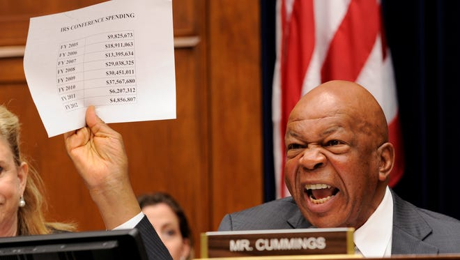 House Committee on Oversight  and  Government Reform Ranking Member Elijah Cummings, D-Md., expresses outrage over IRS spending on conferences at a hearing.