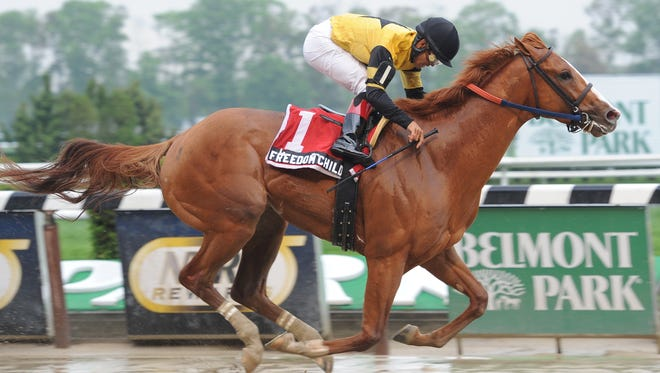 Freedom Child, with jockey Luis Saez, captured the Peter Pan Stakes at Belmont Park on May 11, winning by 13 lengths