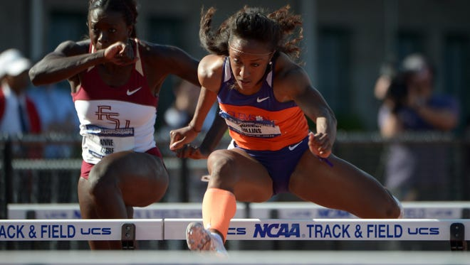 Brianna Rollins of Clemson wins a womens 100m hurdles semifinal in a collegiate record 12.47 at Hayward Field.