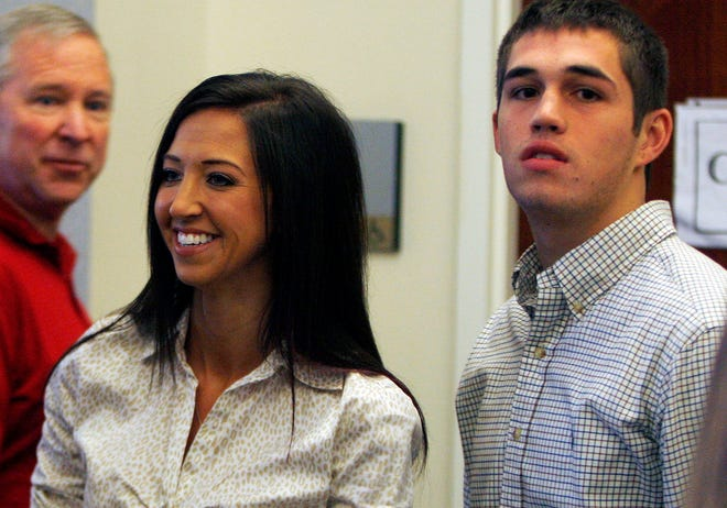 Sarah Jones, and Cody York, the student Jones admitted having a sexual relationship with, appear together in Kenton Circuit Court on Oct. 8, 2012.
