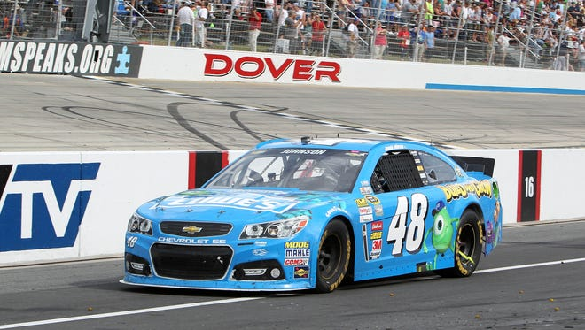 Jimmie Johnson was assessed a pit-road pass-through penalty for jumping the restart during Sunday's FedEx 400 Benefiting Autism Speaks at Dover International Speedway.