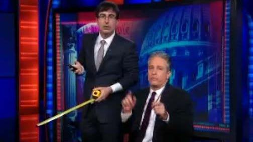 Jon Stewart and John Oliver on Thursday's 'Daily Show.'