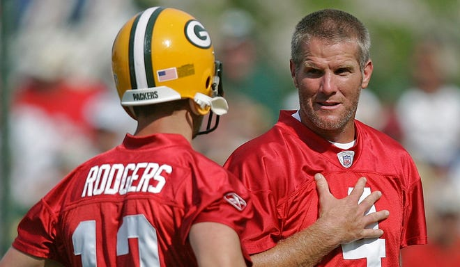 Aaron Rodgers and Brett Favre (4) were teammates for three seasons before Favre was traded to the Jets prior to the 2008 season.