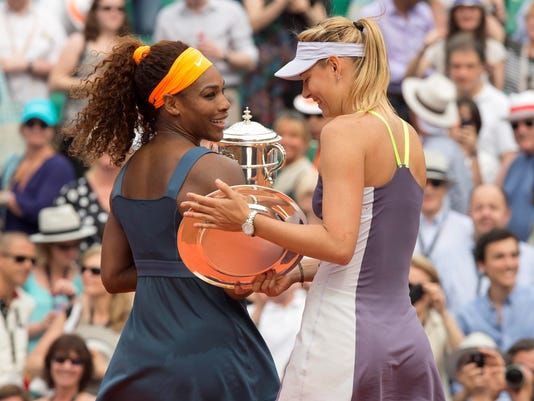 2013-6-8 rg day 14 trophies in hand sharapova serena