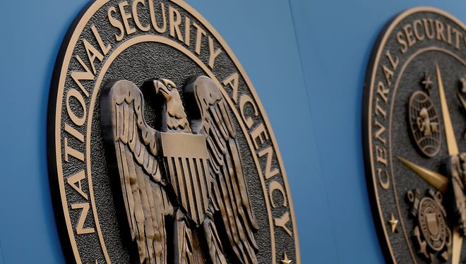 A sign stands outside the National Security Administration campus on Thursday in Fort Meade, Md.