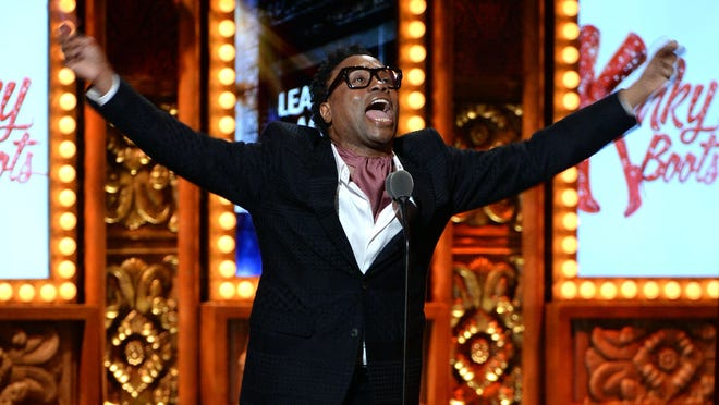 """""""Kinky Boots"""" star Billy Porter exults after his Tony Awards win for leading actor in a musical. The show won six awards total, including best musical."""