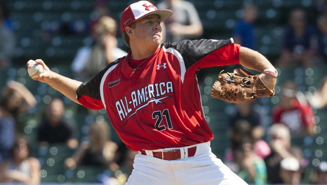Kacy Clemens throws a pitch at the Under Armour All-American Baseball Game held at Wrigley Field in August of 2012.