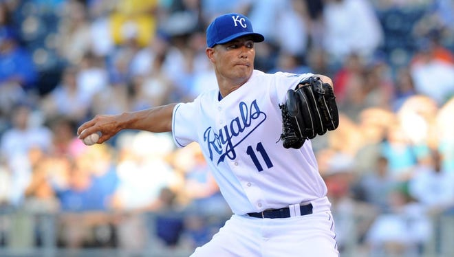 Jeremy Guthrie delivers a pitch in the first inning against the Detroit Tigers on June 10, 2013.