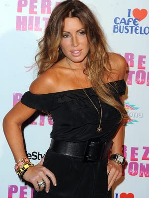 Rachel Uchitel arrives at  Perez Hilton's birthday party on March 27, 2010, in L.A.